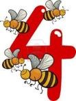 the number four with bees